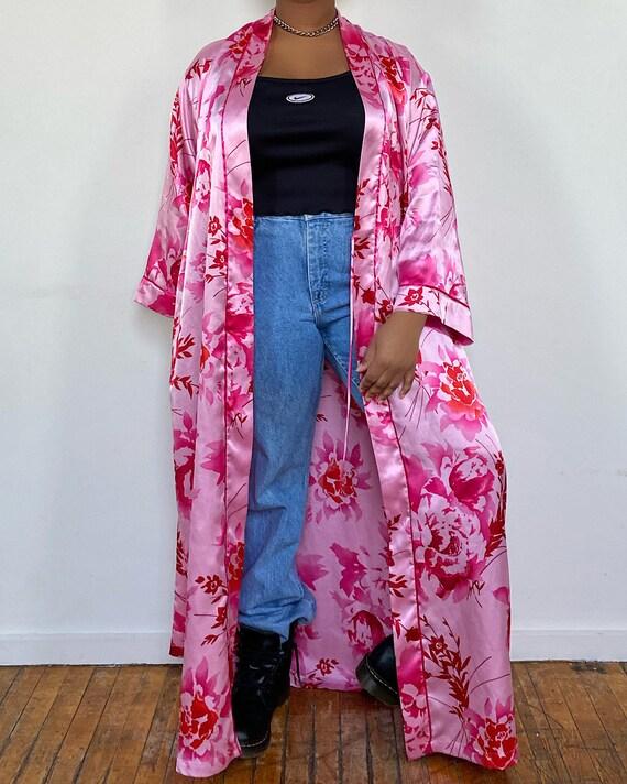 Vintage Floral Satin Robe - Natori Floral Pink/Red