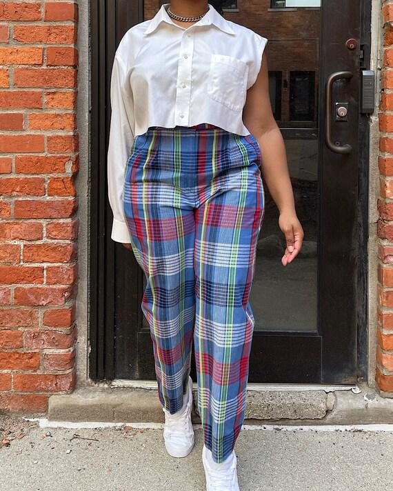 Vintage 80s Multicolor Plaid Trousers (M/L) - Hi-… - image 2