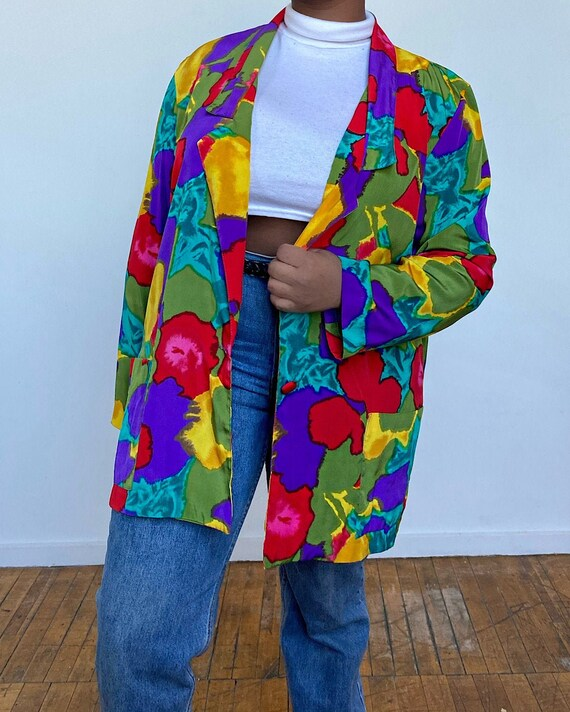 Vintage Oversized 80s Multi-Color Blazer - Oversiz