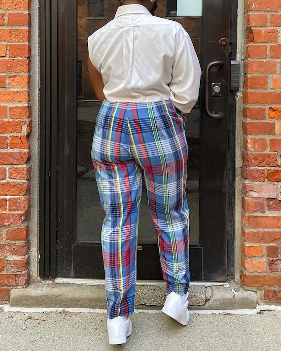 Vintage 80s Multicolor Plaid Trousers (M/L) - Hi-… - image 3