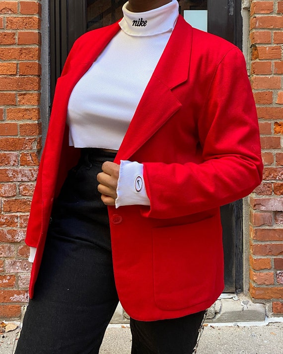 Vintage Oversized Red Wool Blazer - Cortland Colle