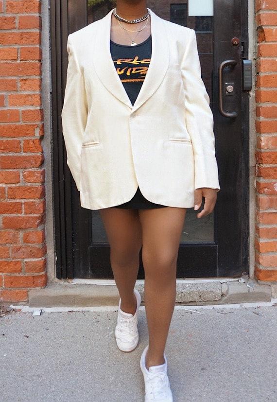 Vintage Oversized Cream Blazer - White Oversized … - image 1