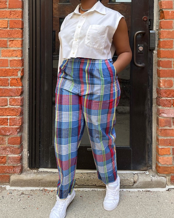 Vintage 80s Multicolor Plaid Trousers (M/L) - Hi-… - image 1