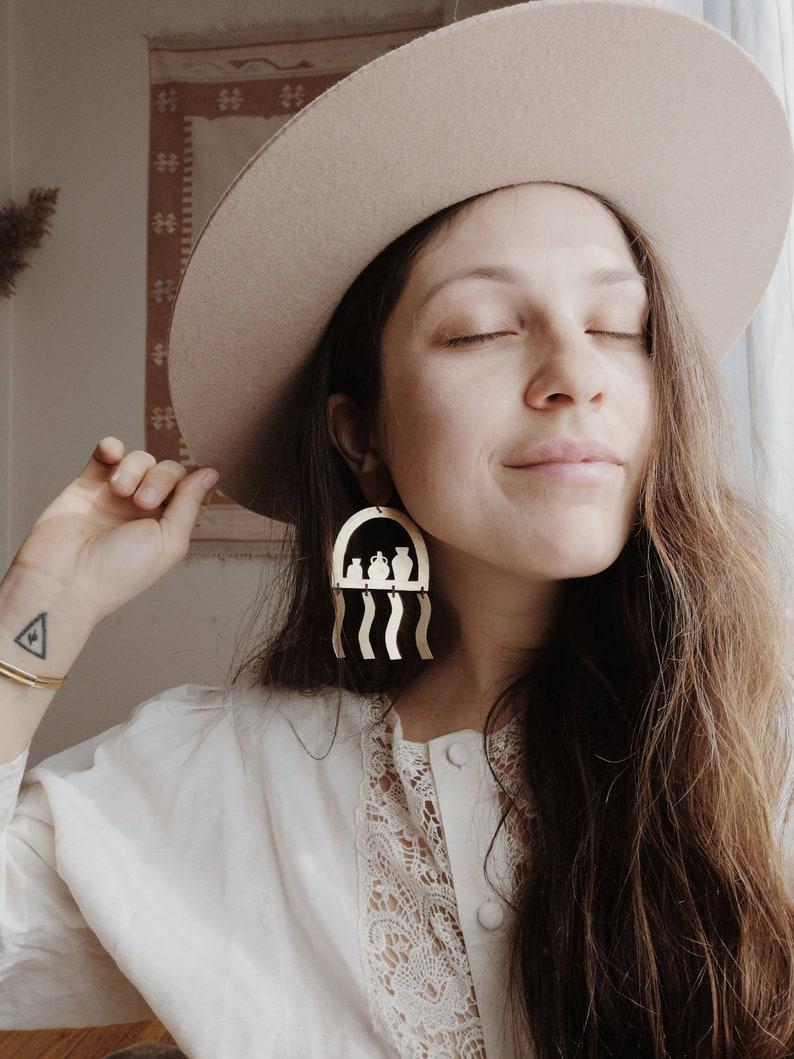 Brass Terracotta Vessel Earrings