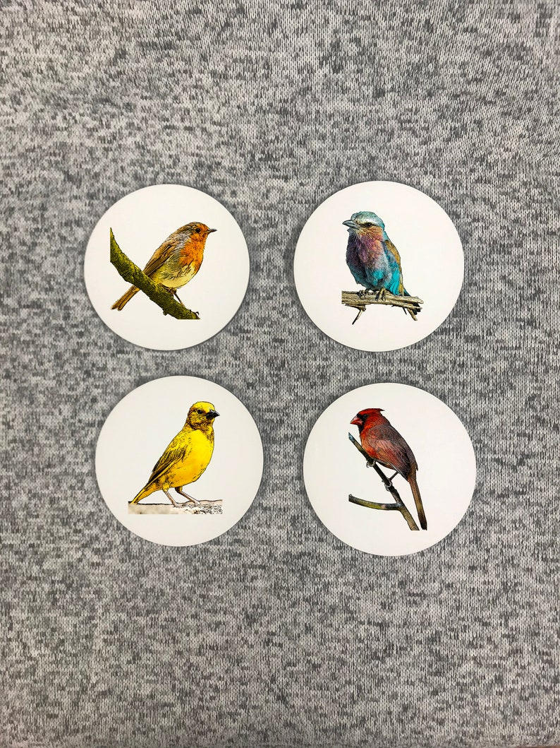 Free Shipping Set of 4 Coasters Housewarming Gift Mother/'s Day Gift Wedding Gift Coasters with Stand Woodland Bird Coasters