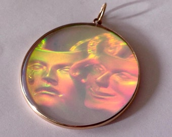 Hologram pendant etsy vintage 1980s 9ct yellow gold comedy tragedy hologram pendant hallmarked aloadofball Choice Image