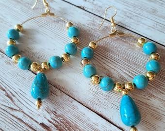 Design Earring pair,Howlite,Sun Stone Intarsia Gemstone Earrings,53x19x5mm,14.5g-E4819