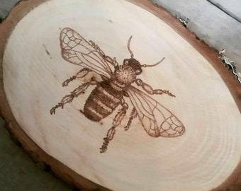 Wood burned bee
