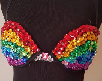 Rainbow Rhinestone Rave Bra