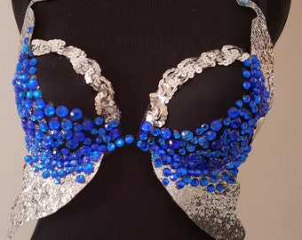 Blue Butterfly Rhinestone Rave Bra