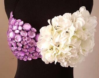 Purple Rhinestone Flower Petal Rave Bra