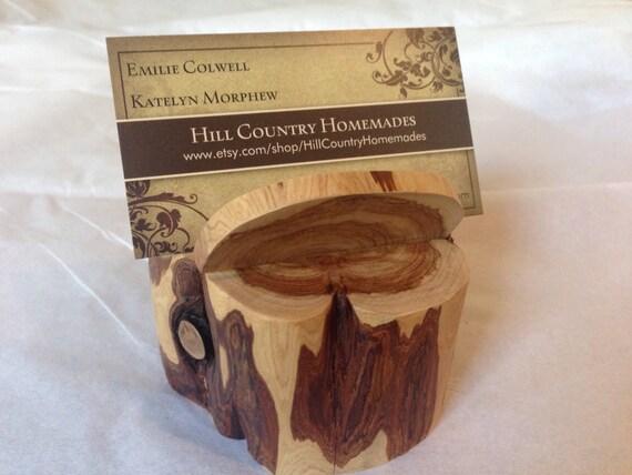 Cedar Buisness Card Holder Rustic Office Supplies | Etsy
