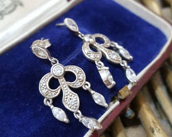 Vintage Sterling Silver Earrings, Chandelier, Sparkly Cz, Art Deco Design
