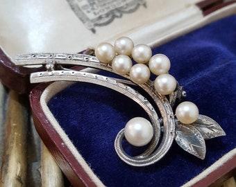 Vintage Sterling Silver Brooch, Cultured Pearls, Handcrafted, Modernist