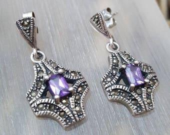 Vintage 925 sterling silver earrings,marcasite & purple crystals,art deco design