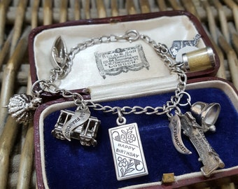 Vintage Sterling Silver Charm Bracelet, Wells Sterling Charm, USA Charms
