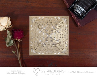 5 PACK – Laser Cut Victorian Lace Wedding Invitation with intricate fold outs – Vintage & Romantic (Shimmery Gold) –– FREE SHIPPING!
