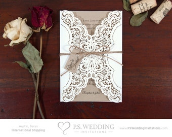 Country Chic Laser Cut Wedding Invitation with Doily & Twine Bow – Lace and Brown Paper (ONLY 20 LEFT) – DEPOSIT