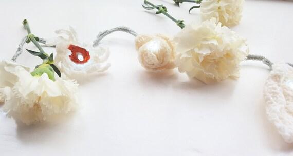White flower fairy light garland white flower decor white etsy image 0 mightylinksfo