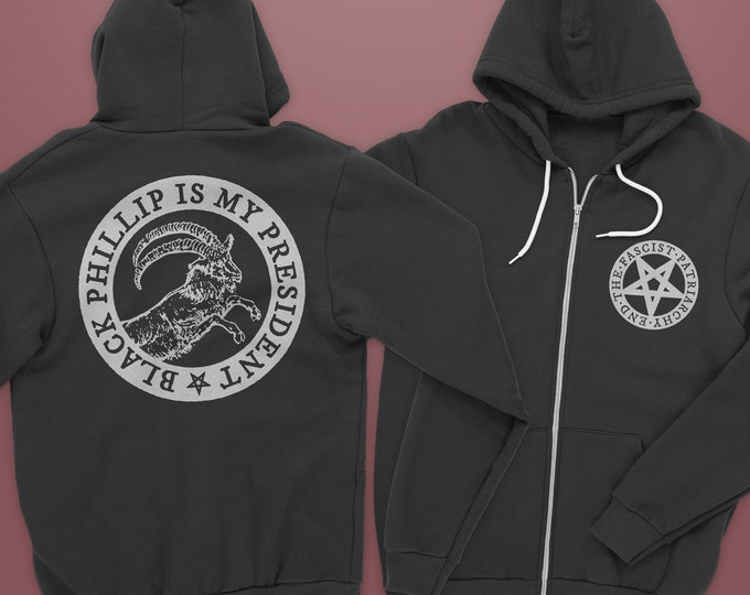 Featured listing image: Black Phillip is My President Zipped Hoodie PREORDER