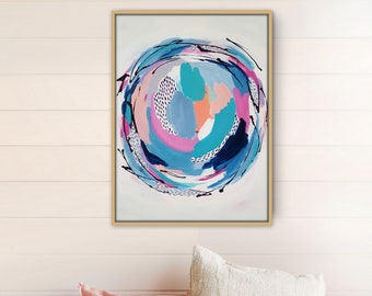 Abstract Mandala Painting - Through the Looking Glass Series - Canvas 18x24 inches -  Wall Art, Home Decor, Spring Decor, Beach Decor