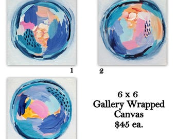 Mini Rounds Abstract Paintings - 6x6 inches - Through The Looking Glass - Pastel home decor - Home Decor, Spring Decor, blue decor, beach