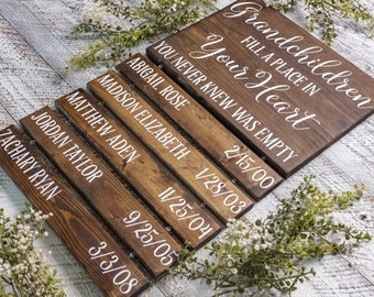 Grandchildren Fill A Place In Your Heart   Grandparent Gifts   Grandma Gift   Grandparents Sign With Names   Grandchildren Sign W/ Names