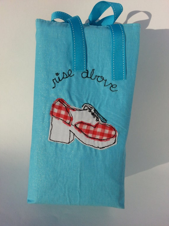 """Vichy sac à chaussures plateforme, tous les doublure de coton, fini de bords, 13"""" de haut x 7"""" de large x 4"""" de profondeur, fermeture ruban gros-grain"""
