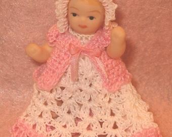 Dollhouse Miniature Baby Dress and Bonnet Victorian Style Ooak