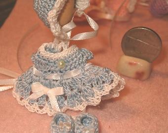 Dollhouse Doll Dress with Matching Bonnet and Booties Ooak Handmade Crochet