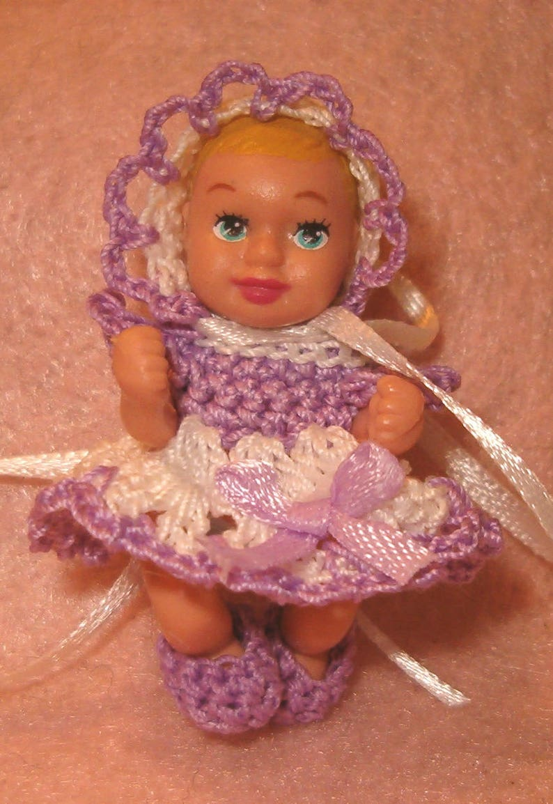 Miniature Handmade Dress,Bonnet and little Booties set for Small Baby Doll