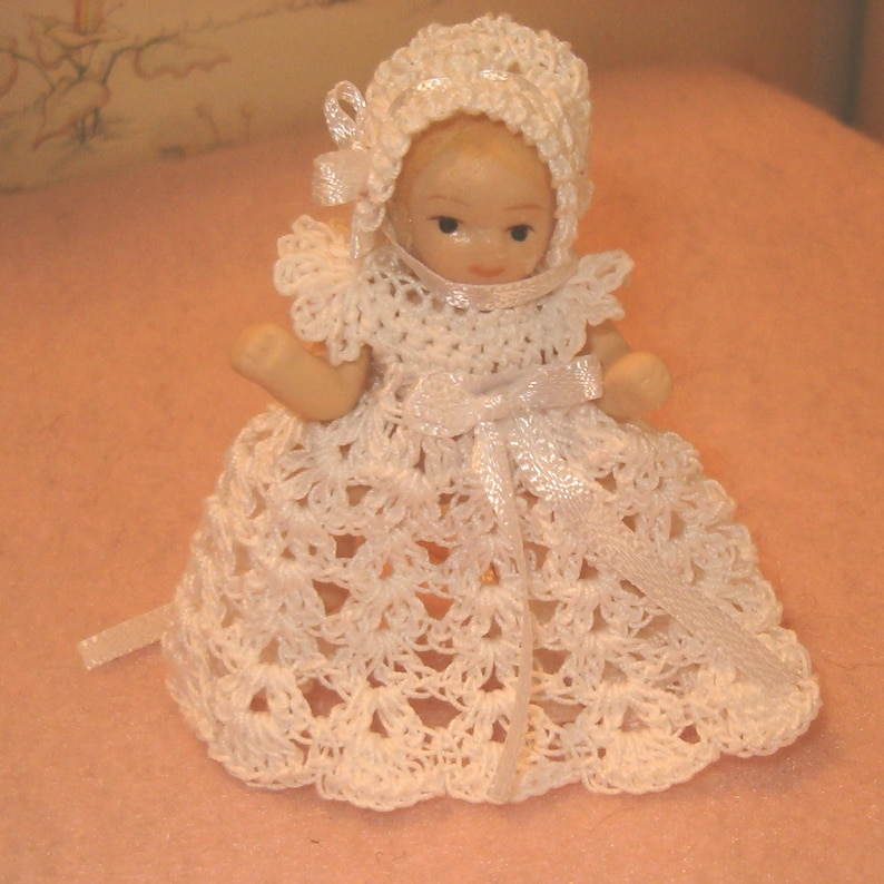 Handmade Crochet Miniature Doll Dress And Bonnet Etsy