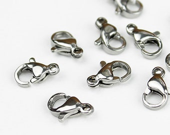 Small Stainless Steel Lobster Clasp 10mm x 6mm - 10 Pieces