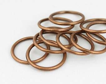 Antique Copper Linking Rings Circle Charms - 10 Pieces
