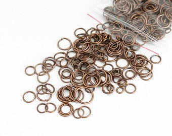 Antique Copper Jump Rings Mix 4mm - 10mm