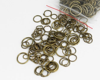 Antique Brass Jump Rings Mix 4mm - 10mm
