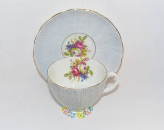 Foley Vintage Hand Painted and Signed Bone China Teacup and Saucer - 1202