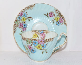 Foley Vintage Hand Painted and Signed Bone China Teacup and Saucer - 946