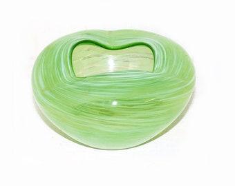Murano Green White Swirl Bowl - 162