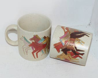 Laurel Burch Native Horses Coffee Mugs Set of Two - 1942