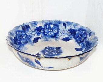 Antique Large Flow Blue Serving Bowl - 1934