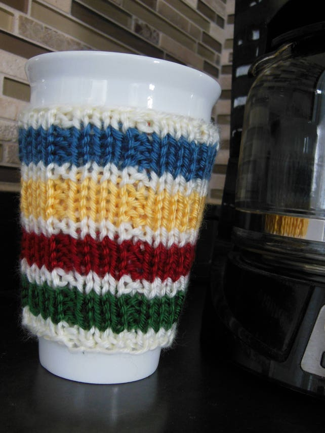 Knitting Pattern Hudson Bay Knit Cup Cozy Knitted Cozy Etsy