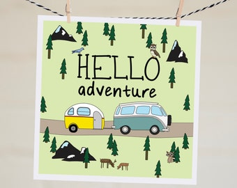 Hello Adventure Card | Camper Card | Travel Card | Going Away Card | Handmade | Bon Voyage | Moving Card | Hello Card | Wanderlust Card