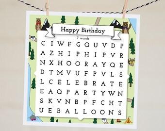 Funny Birthday Card Best Friend Birthday Card   Word Search Happy Birthday Card Boyfriend   Handmade Birthday Gift Kids Party Illustration
