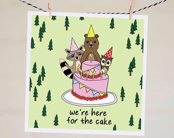 Funny Birthday Card Boyfriend   Handmade Best Friend Birthday Card   Birthday Gift   Birthday Cards  We're Here for the Cake Birthday Card