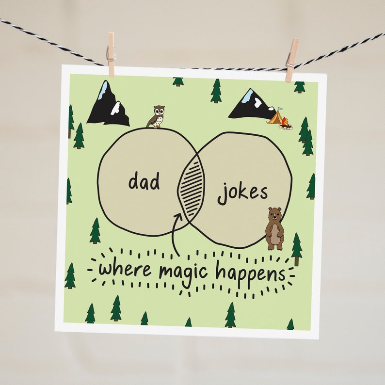 Dad Jokes Card Funny Father's Day Card For Dad First Woodland