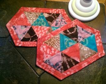 Blue Batik Mug RugQuilted Large CoasterTeacher Apreciation GiftTeal Batik Quilted Snack Mug MatBlue Green Batik Small Placemat