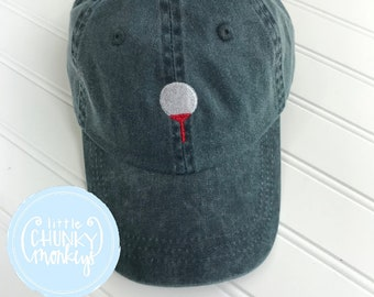 Toddler Kid Hat - Golf Tee on Hunter Green Hat d7ae24a1d009