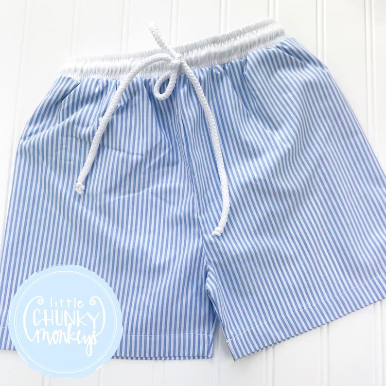7cac00578f5c8 Boy Swimwear Boy Swim Trunks Blue Seersucker | Etsy