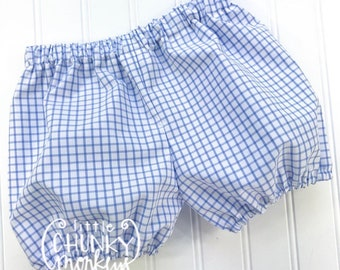 Boy Bloomer Shorts - Windowpane in Light Blue